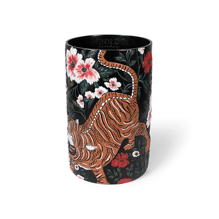 Bold Monkey Songs Of The Night Tiger vaas handgeschilderd tijger print bloemen multicolor