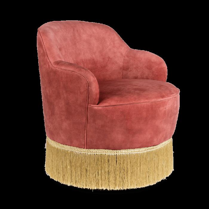 Bold Monkey Fringe Me Up lounge chair old pink gold coloured fringes seater