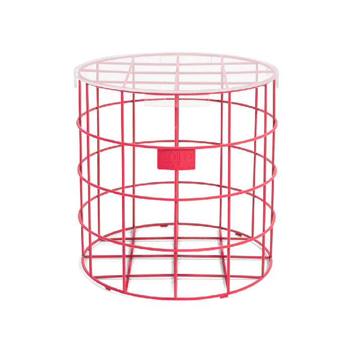 Bold Monkey Cage Fight Round pink side table neon velvet transparant table top