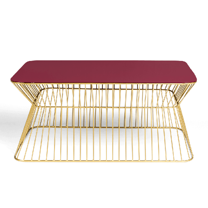 Bold Monkey No Offence coffee table wine red enamel top