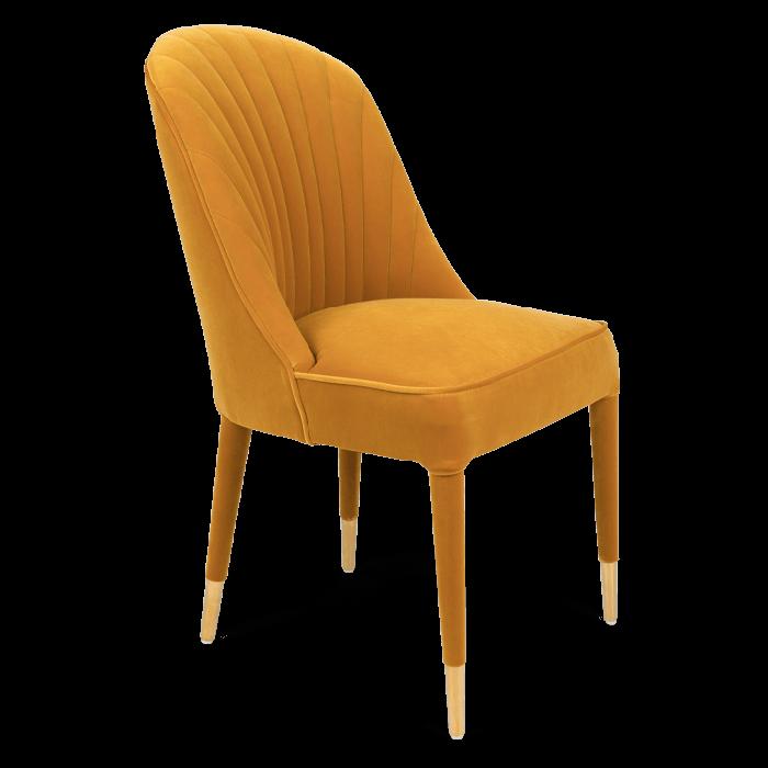 Bold Monkey Give Me More Velvet stoel eetkamerstoel oker geel velvet afwerking gouden poten zijaanzicht