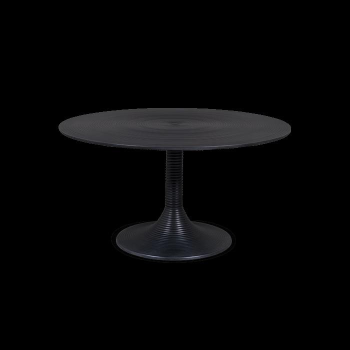 Bold Monkey hypnotiserende ronde koffietafel zwart gelakte aluminium vooraanzicht