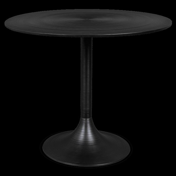 Bold Monkey hypnotising round ronde eettafel design tafel zwart aluminium vooraanzicht