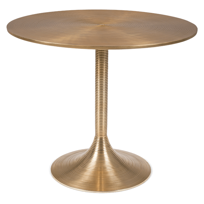 Bold Monkey hypnotising round dining table gold painted aluminum front view