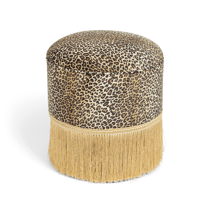 Bold Monkey My Lover And Best Friend ottoman pouf panther fringe