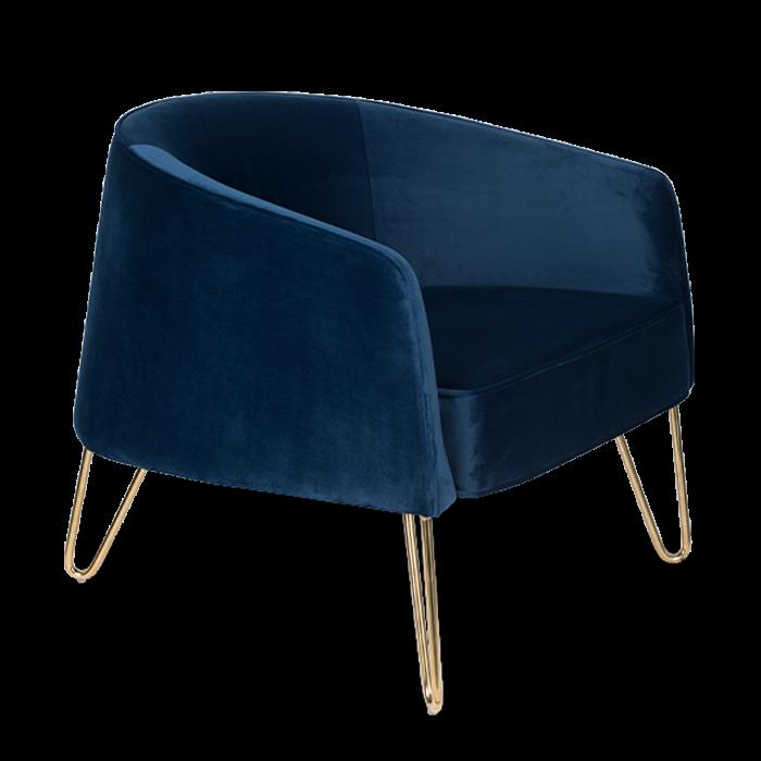 Bold Monkey queenalicious loungestoel fauteuil koninklijk donker blauw velvet gouden poten zijaanzicht