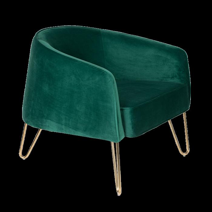 Bold Monkey queenalicious loungestoel fauteuil koninklijk groen velvet gouden poten zijaanzicht