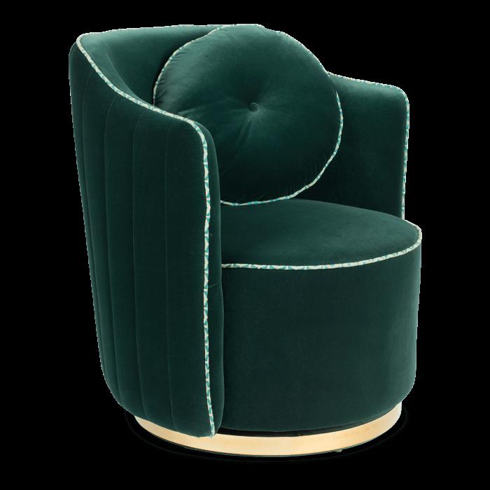 Bold Monkey sassy granny ronde loungestoel fauteuil donkergroen velvet gouden onderstel zijaanzicht