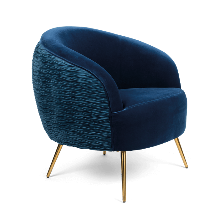 Bold Monkey So Curvy loungestoel fauteuil koningsblauw donker blauw velvet fluweel bekleding gouden poten zijaanzicht
