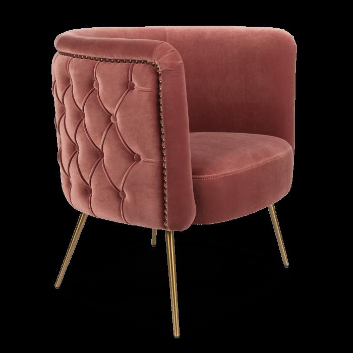 Bold Monkey such a stud loungestoel fauteuil velvet roze gouden poten  zijaanzicht