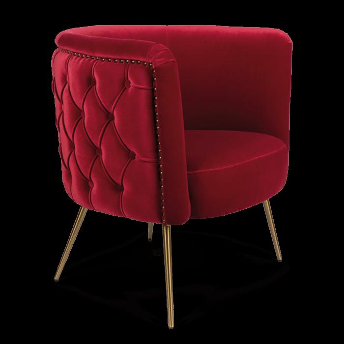 Bold Monkey such a stud loungestoel fauteuil velvet rood gouden poten zijaanzicht