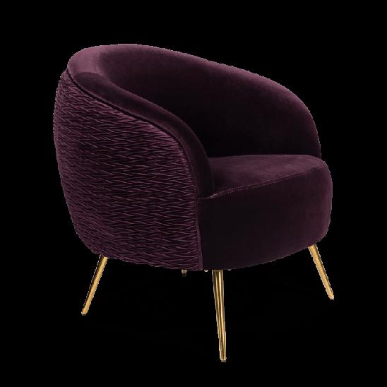 Bold Monkey So Curvy loungestoel fauteuil paars velvet fluweel bekleding gouden poten zijaanzicht