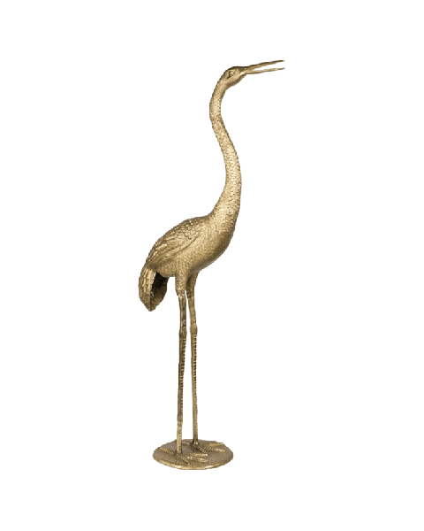 Bold Monkey A tall handsome statue Limited Edition golden messing crane bird