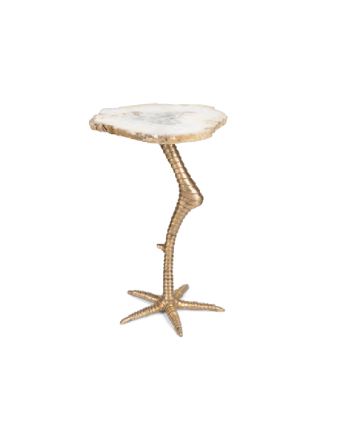 Bold Monkey Beauty and the bird side table golden birds leg with a marble golden white top front view