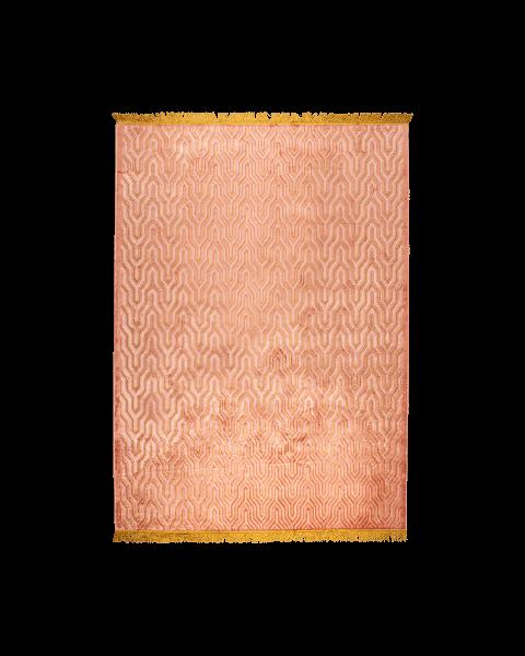 Bold Monkey I Feel So Soft vloerkleed 170x240 roze geometrisch patroon goudkleurige franjes