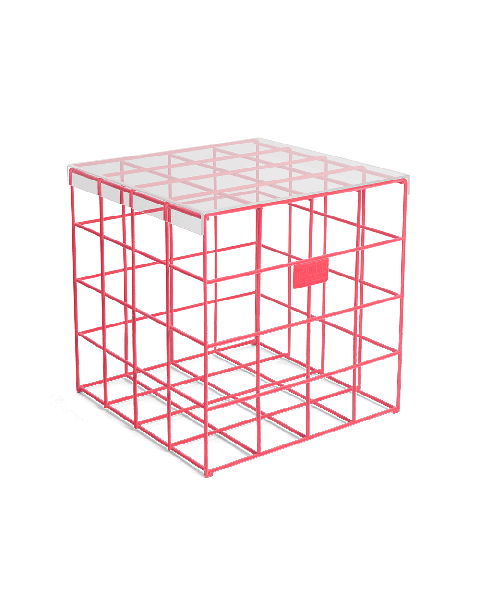 Bold Monkey Cage Fight square pink side table neon velvet transparent tempered glass table top