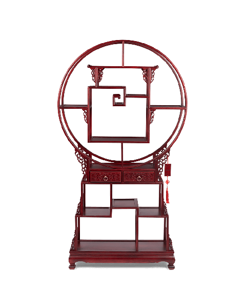 Bold Monkey It's tea time in China cabinet Limited Edition red wood chinese handcrafted cabinet