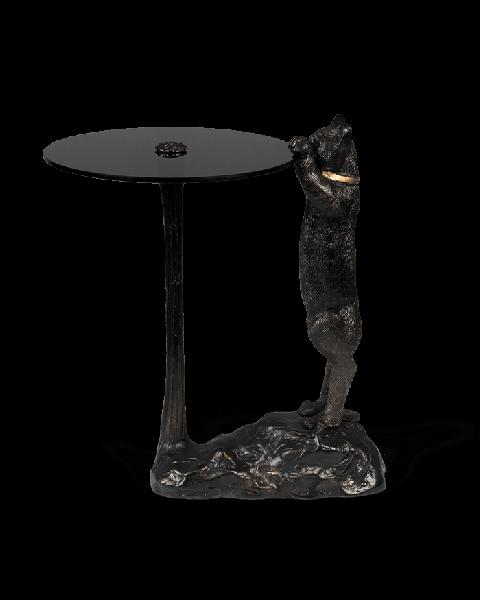 Bold Monkey no girlfriend no problem grappige extravagante bijzettafel zwart gerookt glazen tafelblad kat