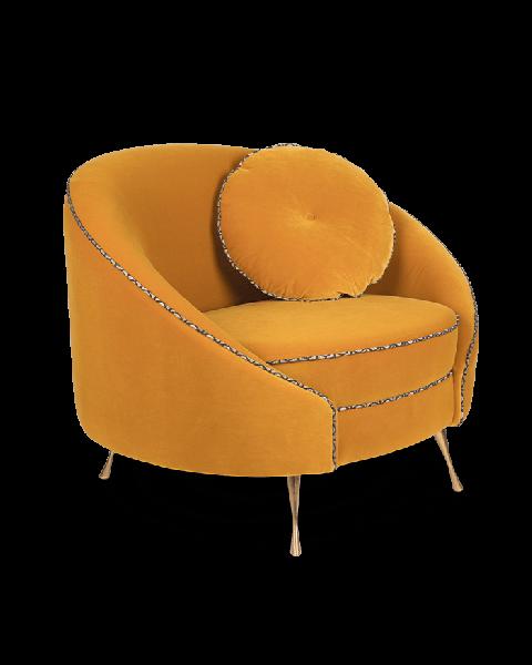 Bold Monkey don't love me love seat 1,5- zitbank rond oker geel velvet gouden poten zijaanzicht