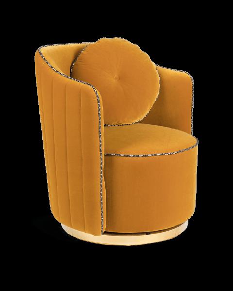 Bold Monkey sassy granny ronde loungestoel fauteuil oker geel velvet gouden onderstel zijaanzicht