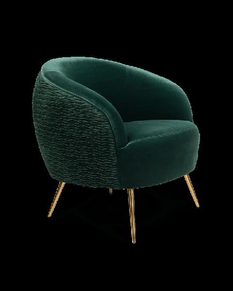 Bold Monkey So Curvy loungestoel fauteuil donkergroen velvet fluweel bekleding gouden poten zijaanzicht