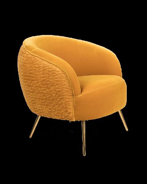 Bold Monkey So Curvy loungestoel fauteuil oker geel velvet fluweel bekleding gouden poten zijaanzicht