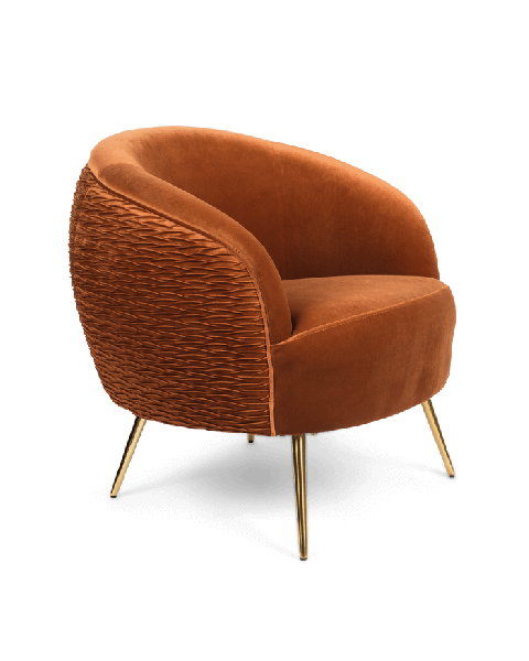 Bold Monkey So Curvy loungestoel fauteuil oranje velvet fluweel bekleding gouden poten zijaanzicht