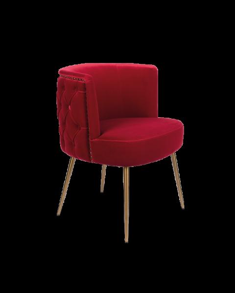 Bold Monkey such a stud stoel eetkamerstoel velvet rood gouden poten zijaanzicht