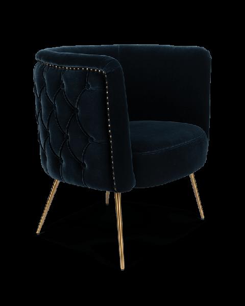 Bold Monkey such a stud loungestoel fauteuil velvet donker blauw gouden poten zijaanzicht