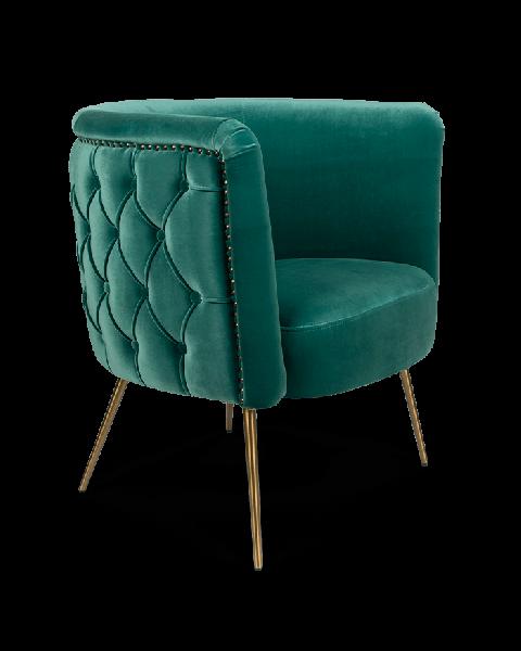 Bold Monkey such a stud loungestoel fauteuil velvet oceaan groen blauw gouden poten zijaanzicht