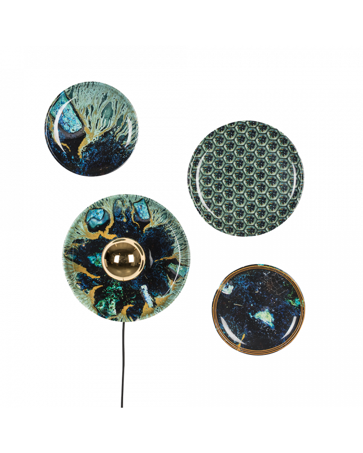 Bold Monkey No Food Here wall lamp hexagon ocean turquoise print (set of 4) iron plates artwork wall art printed