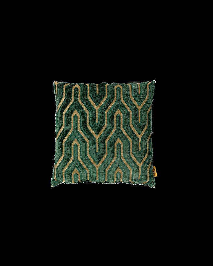 bold monkey I feel so soft sierkussen groen art deco geometrisch patroon